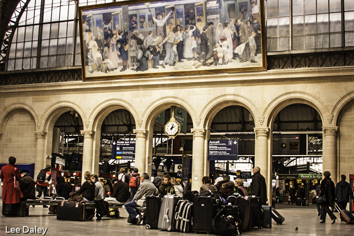 Waiting for the train in Gare d'le Este, Parisian train station, Paris, France
