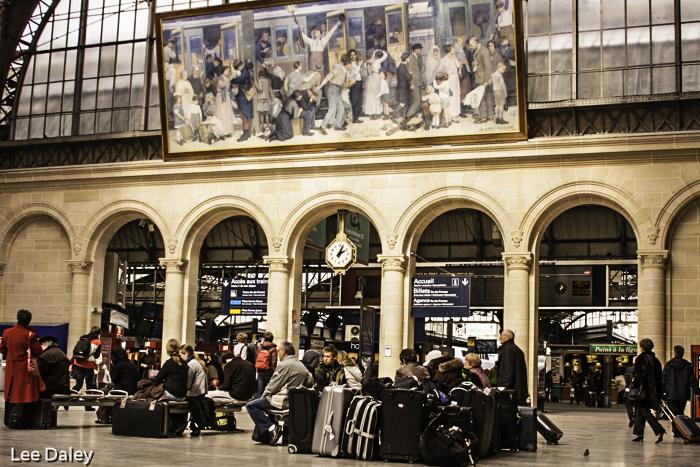 Waiting for the train in Gare d'le Este, Parisian train station, Paris, France