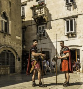 Roman centurions still stand guard in the Peristyle of Diocletian's Palace in Split, Croatia
