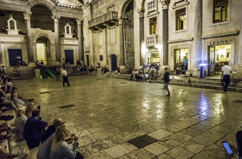 """Midnight wine and music on the steps in Diocletian's Palace at """"Luxor"""", Split, Croatia"""
