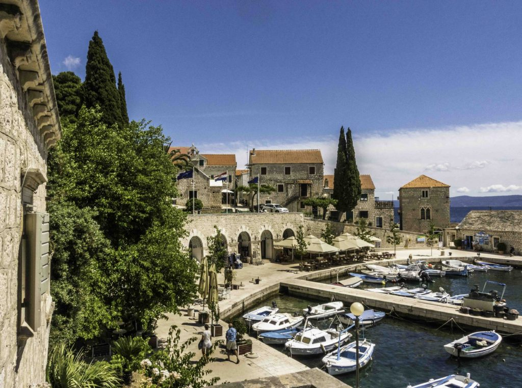 Beautiful old harbor in the town of Bol on the island of Brac, Croatia