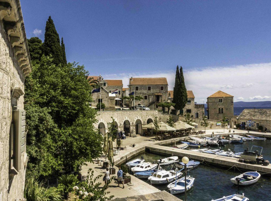 Beautiful old harbor in the town of Bol on the island of Brac, Croatia