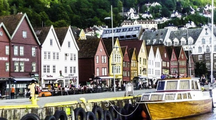 Bergen: Gateway to Norway's fjordsBergen,Norway, Old Town Bergen colorful buildings, shops and pubs.