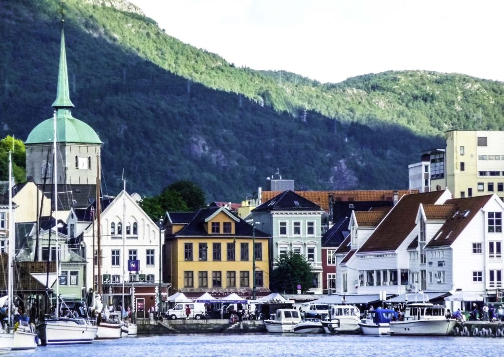 Bergen is gateway to the fjords of Norway, Historic Bergen harbor, Bergen, Norway
