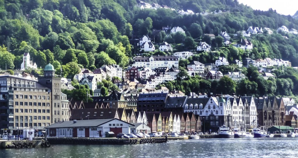 Bergen: Gateway to Norway's fjordsBergen,Norway, Coastline is dotted with islands and fjords, fjords, NorwayBergen is gateway to the fjords of Norway, Historic Bergen harbor, Bergen, Norwa