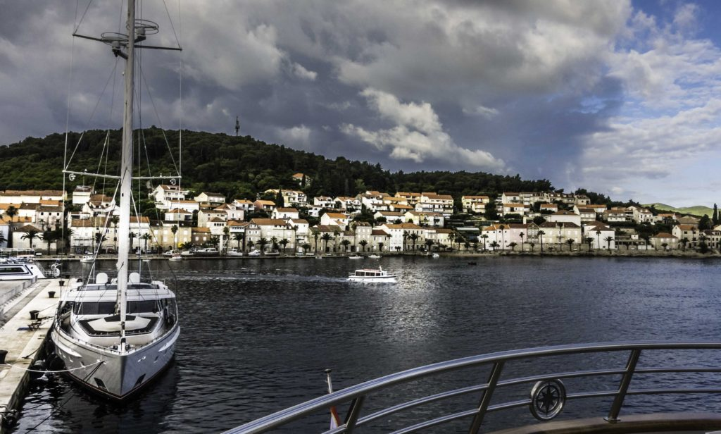 Departing Korcula Harbor, Korcula Island, Dalmatian Islands, Aegean Sea, Croatia, Katerina Lines cruise, Croatia Islands Cruise