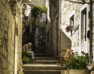 Cobblestone stairs of Hvar's Old Town, Hvar Island, Dalmatian Islands, Aegean Sea, Croatia, Katerina Lines cruise, Croatia Islands Cruise
