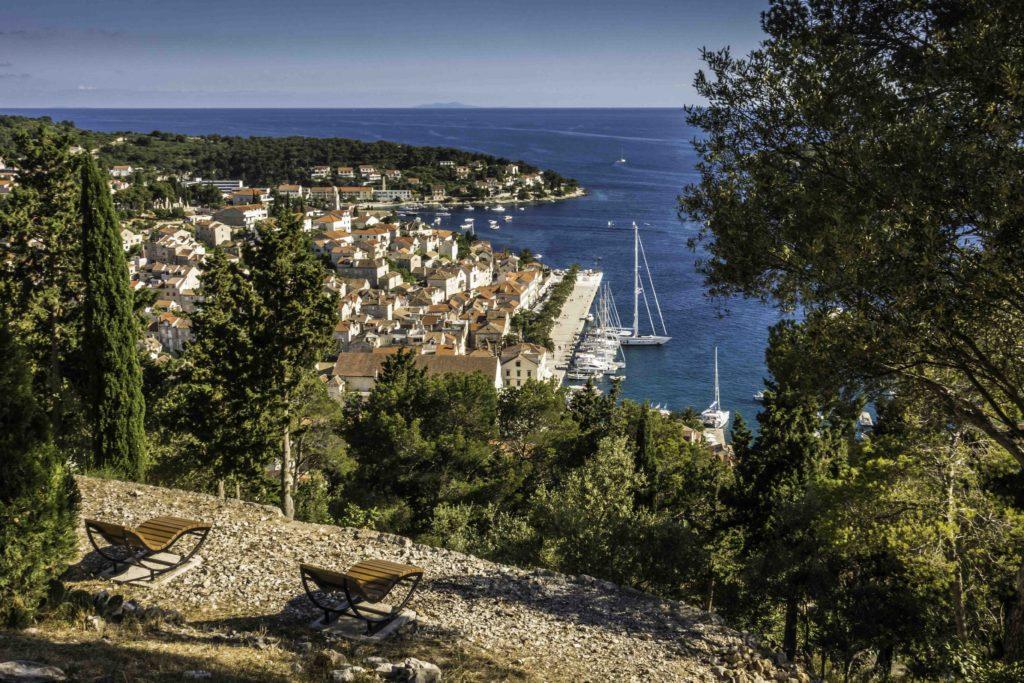 View of Hvar harbor from the Botanical garden, Hvar Old Town, Hvar Island, Croatia, Dalmatian Islands, Aegean Sea, Katerina Lines cruise, Croatia Islands Cruise