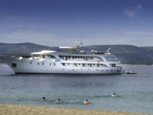 Anchored at the Golden Horn Beach, Brac Island, Croatia, Dalmatian Islands, Aegean Sea, Katerina Lines cruise, Croatia Islands Cruise