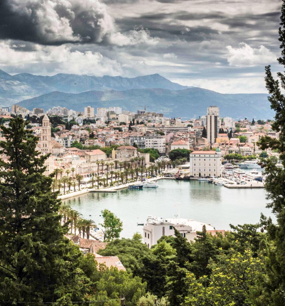 View of Old Town Split and Riva Harbor from Marjan Park, Split, Croatia, Croatia Islands Cruise
