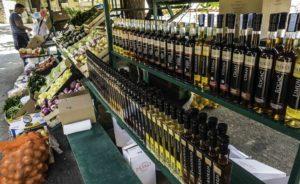 Local olive oil selection at the farmer's market, Bol, Brac island, Croatia, Crusing the Dalmatian Islands with Katarina Lines, Croatia Islands Cruise