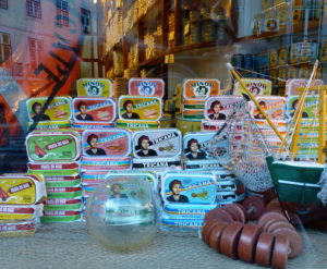 A window of sardines at the family owned artisanal Conserveira de Lisboa (since 1930), An Appetite for Lisbon, Portugal