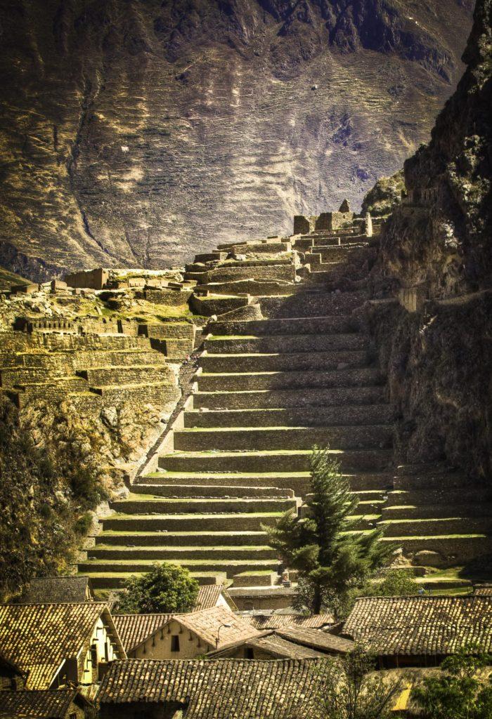 Ollantaytambo citadel on Bandolista Hillside, Road to Machu Picchu, Cusco region, Peru