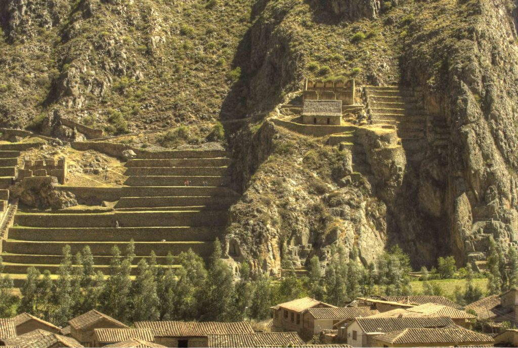 Ollantaytambo agricultural Inca terraces, Road to Machu Picchu, Cusco region, Peru