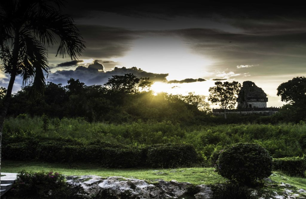 Sunset over Caracol (The Observatory), Chichen Itza, Yucatan, Mexico