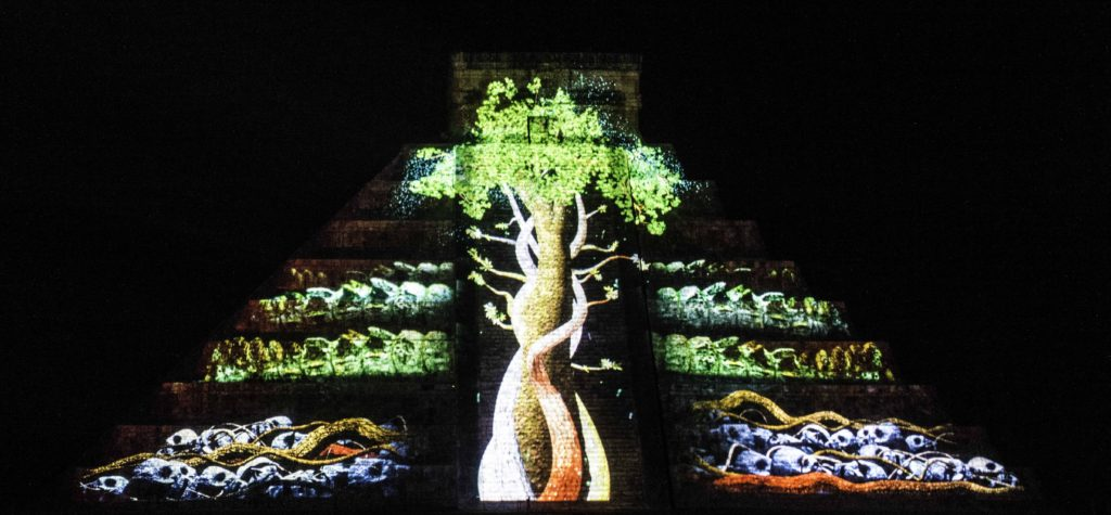 Mayan tree of life projected on the pyramid of Chichen Itza - for the Maya it connected the 13 levels in the heavens, the mortal world and the 9 levels in the underworld, Chichen-Itza, Yucatan, Mexico