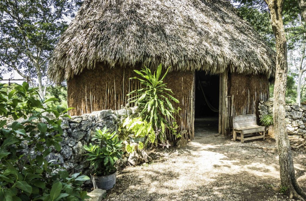 Traditional Mayan dwelling recreated at Sotuta de Peón, Campeche, Mexico