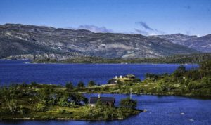 A morning walk along the lake in Ustaoset,Oslo to Bergen by Train, Norway by Train