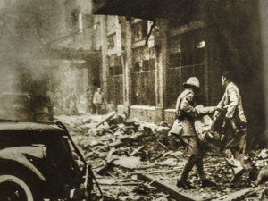 Accidental bombing of the Cathay Hotel in 1937, Shanghai, China
