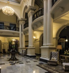 Lobby of #2 The Bund, the former Shanghai Club, now the Waldorf Astoria, Shanghai, China