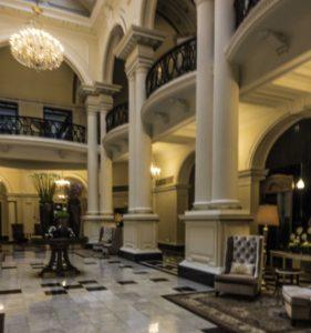 Lobby of #2 The Bund, the former Shanghai Club, now the Waldorf Astoria, Shanghai, China