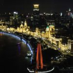 The Shanghai Bund as viewed from the Vue Bar at the top of the Hyatt Hotel, Shanghai, China