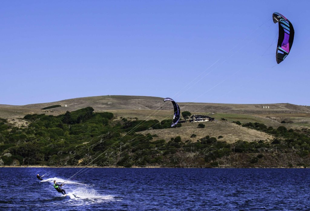 Kite Surfing on Tomales Bay, Point Reyes Natiional Seashore, San Francisco Bay Area, Marin County, Northern California, California