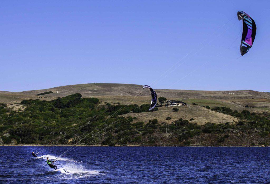 Kite Surfing on Tomales Bay, Point Reyes Natiional Seashore, San Francisco Bay Area, Marin County, Northern California, California