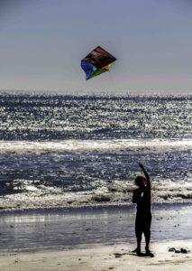 Kite flying on Point Reyes Beach, Point Reyes National Seashore, San Francisco Bay Area, Northern California, California