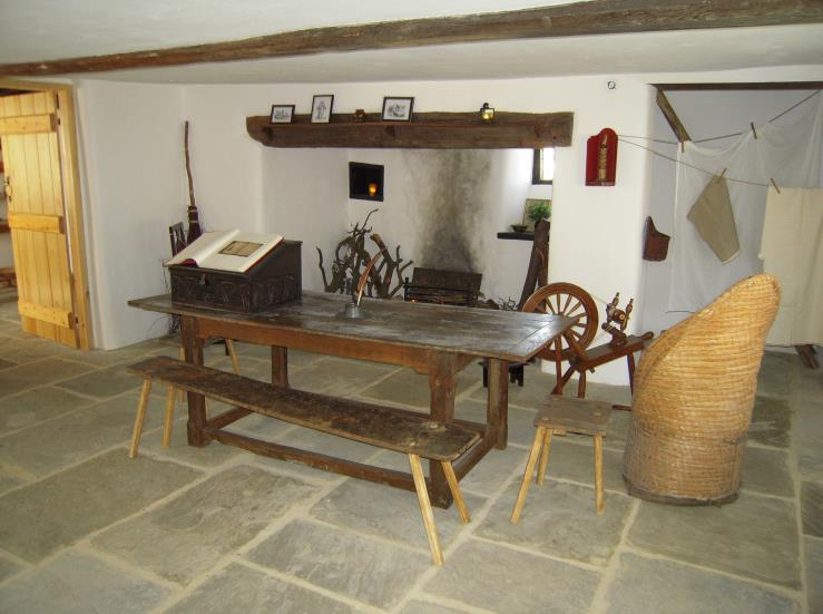 Restored interior of John Clare Cottage, Helpston