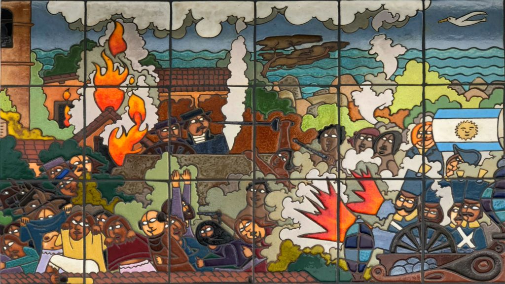 Argentinian and Spanish forces engaged in 1818 land and sea battle , Monterey Mural, Monterey, California