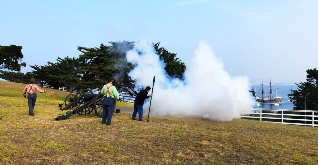 Cannons fire on the Lady Washington from Lower Presidio Historic Park , Monterey, California