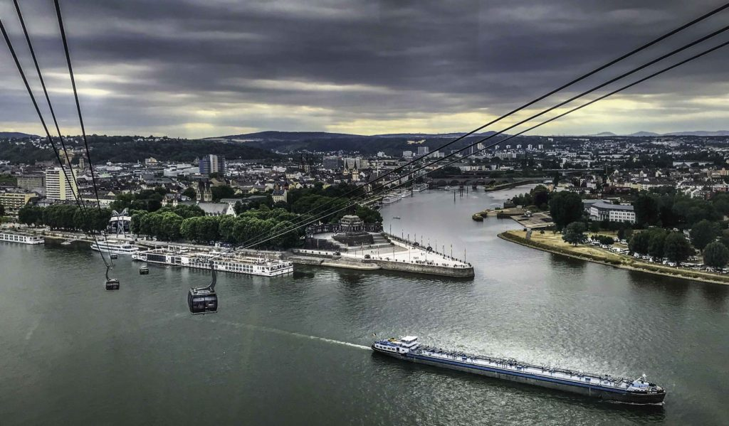 Cable cars soar above Koblenz, the Confluence of Rhine and Moselle Rivers, AmaPrima cruise, AmaWaterways, Germany