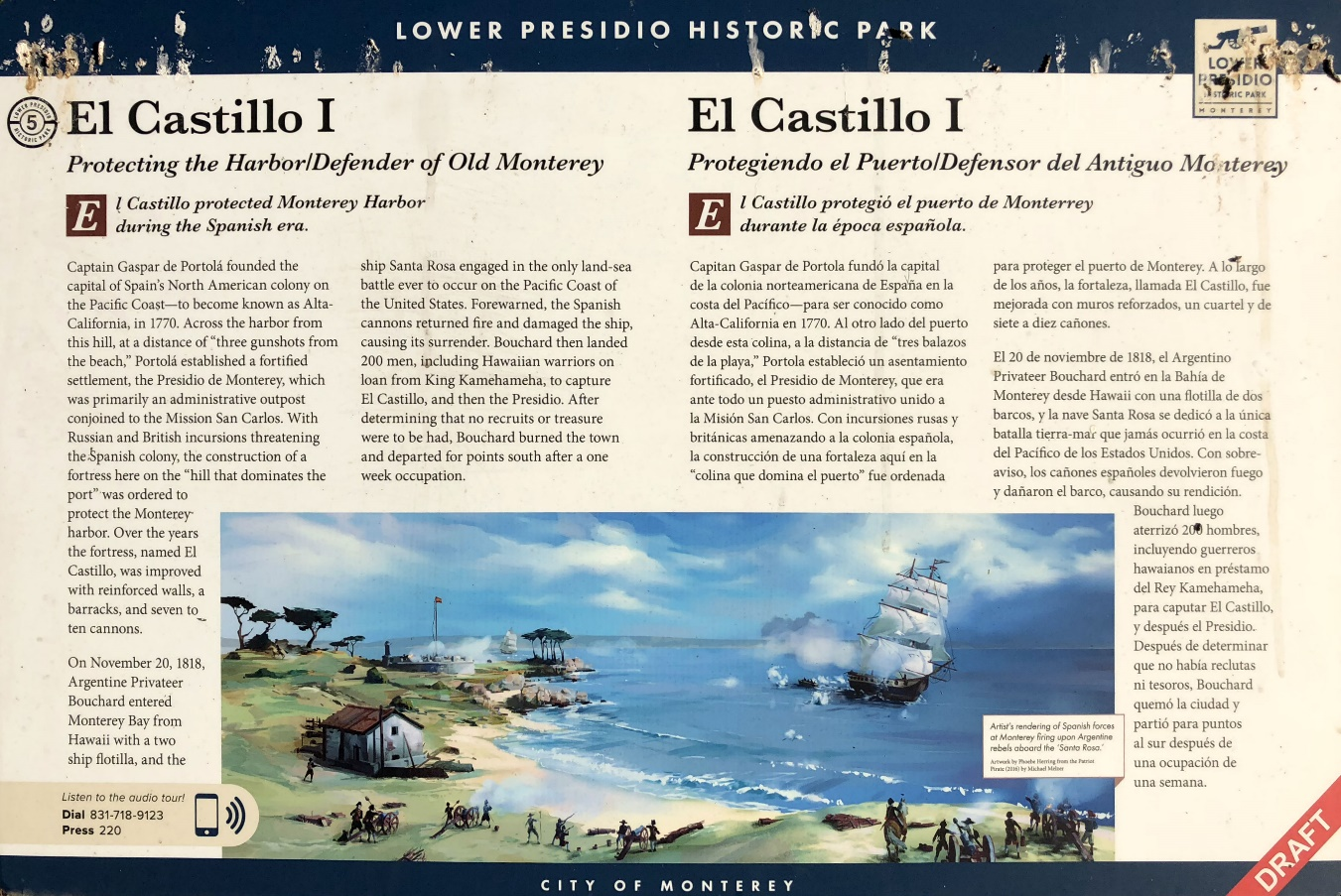 Interpretive panels are rendered in English and Spanish , Monterey, California