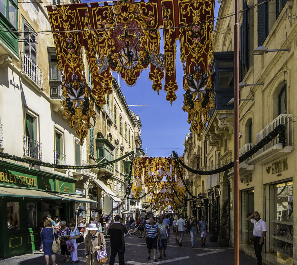 Triq Ir-Repubblika, decorated for the upcoming feast of Saint Augustine, Valletta, Malta
