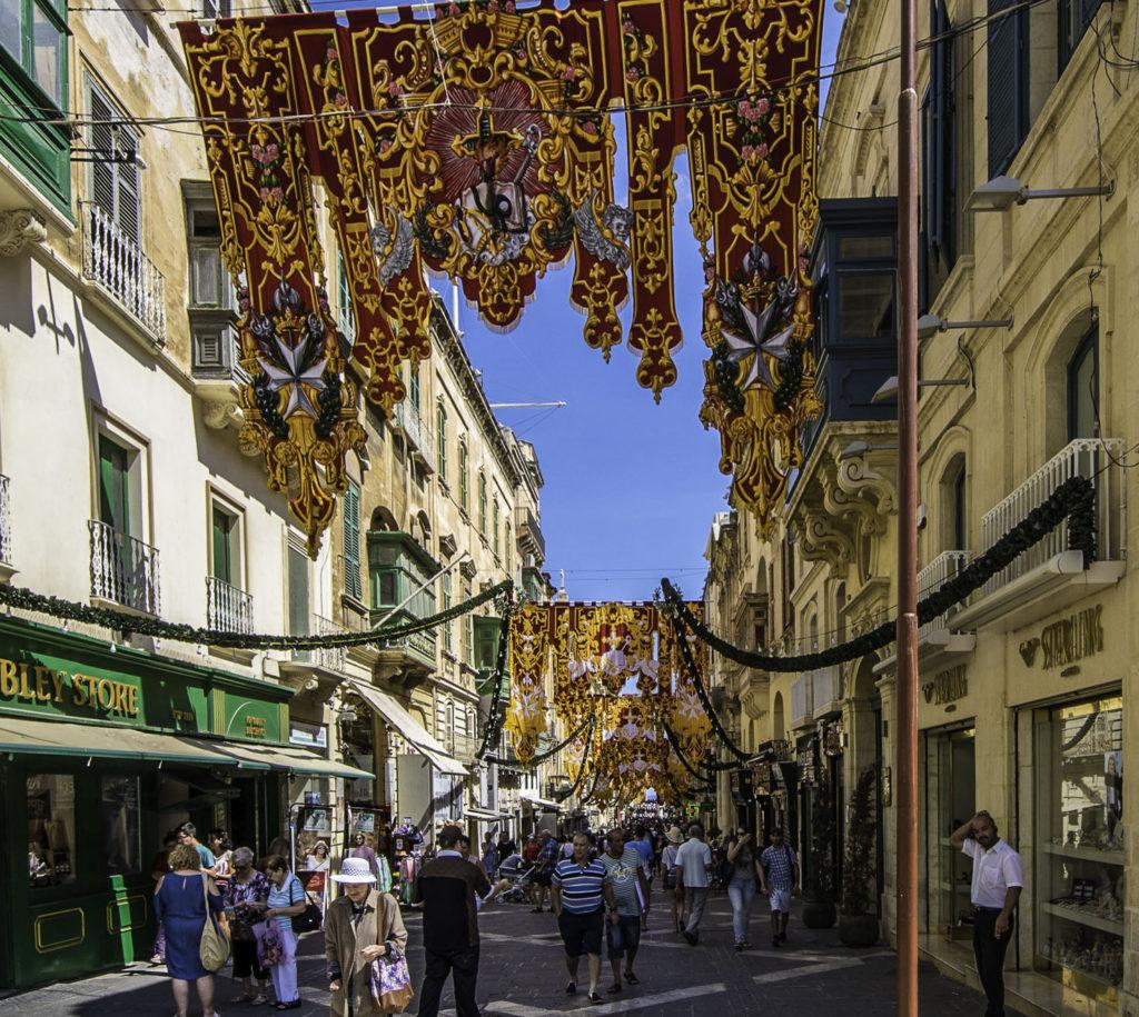 Triq Ir-Repubblika, decorated for the upcoming feast of Saint Augustine, Valletta, Malta