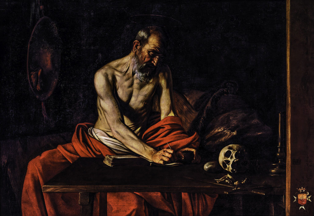 Caravaggio: Saint Jerome Writing, 1607. The Oratory of St. John's Co-Cathedral, Valletta, Malta