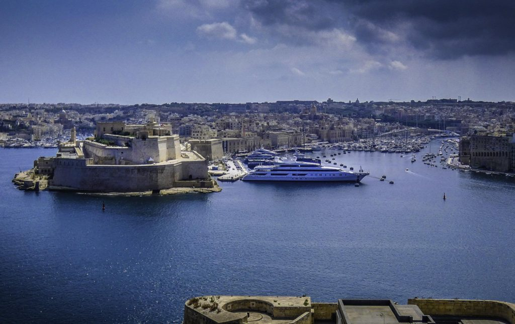 A view of Grand Harbour from Valletta. On the left, we can see Fort St. Angelo, where Caravaggio was thrown in prison