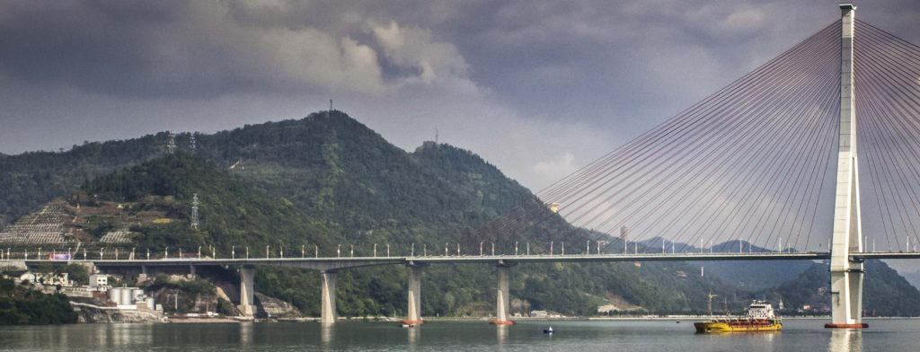 Modern suspension bridge crossing the Yangtze river near Fuling, Chongqing, China, Three Gorges Cruise