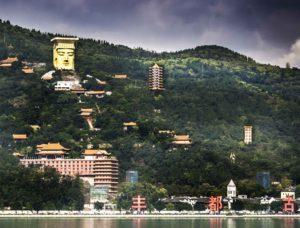 Ghost City (Fēngdū Guǐ Chéng) temple complex on Ming Mountain, Yangtze River Three Gorges cruise, Chongqing, China