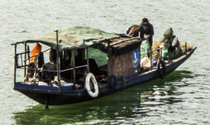 Fishing sanpan on the Yangtze River, Chongqing, China, Three Gorges Cruise