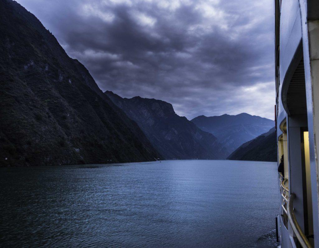 Entrance to Wu gorge at sunset, Yangtze River Three Gorges Cruise, Chongqing, China