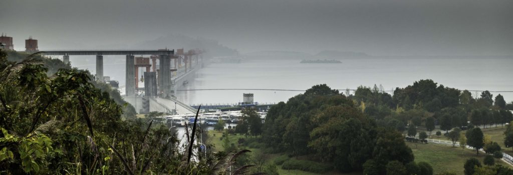 Three Gorges Dam on the Yangtze River at Xiling Gorge, Three Gorges Cruise, Chongqing, China