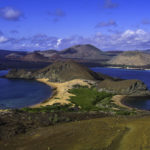 Cruising the Galapagos Islands with Ecoventura,Panorama of surrounding Sullivan Bay from the summit of a once active volcano on Bartolome Island, Galapagos Islands, Equador
