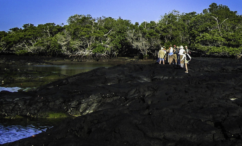 Our adventurers hiking across lava – good footwear required, Galapagos Islands, Ecuador