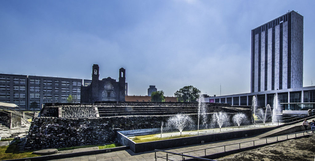 Plaza de Tres Culturas—Mexican history in one square: a pre-Hispanic pyramid, a Spanish church, and modern buildings, Mexico City, Mexico