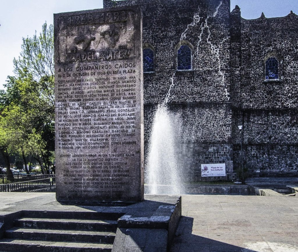 Era of protests: Memorial to those who died when the 1968 student demonstration was crushed at Tlatelolco, on Plaza de Tres Culturas. The next round of student demonstrations, in 1971, was portrayed in the movie Roma, Mexico City, Mexico