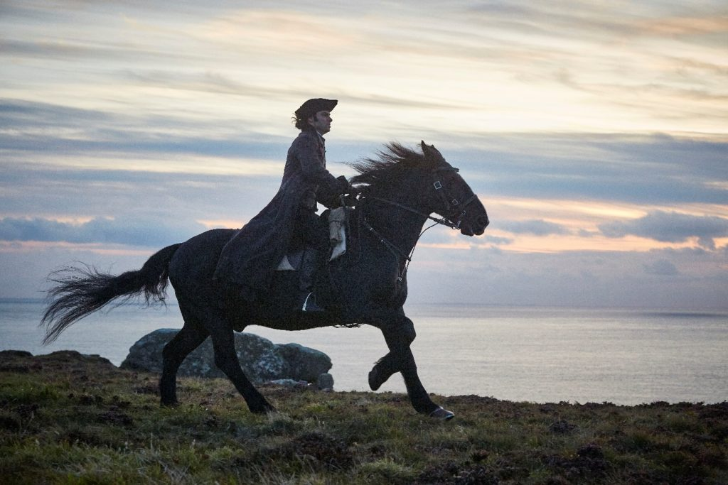 Materpiece Mystery Tour, Aidan Turner as Ross Poldark astride Seamus., Cornwall, Great Britain, England, UK