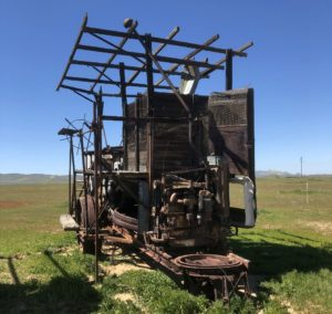 This early 1900s grain harvester required 10 workers to operate, Carrizo Plain National Monument, California