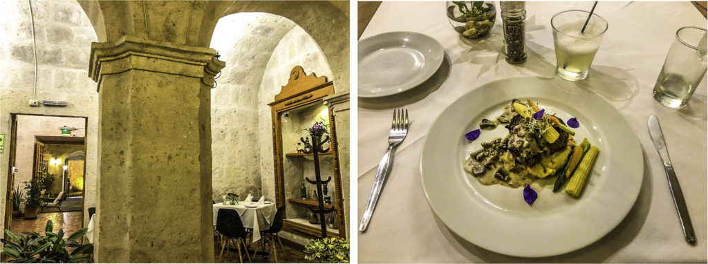 Novo Andino restaurant Dimas: sillar vaults and alpaca fillet with pisco sour, Arequipa, Peru